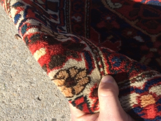 "Local Find: A 1920's super fine Bakhtiari rug measuring 6'6""x 5'2"" with over 400 knots per square inch.  Has one small area showing foundation (see picture), but other than that, rug  ..."