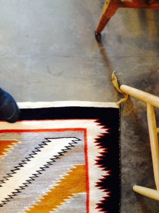 """Measuring 63""""x 145.5"""", regional vintage Navajo rug in mint condition.  More pics upon request.   Thanks for looking."""