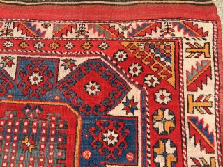 "As found: old Turkish Bergama rug measuring 4'10""x 6'9"" in pretty good condition.  Thanks for looking!"