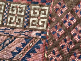 """As found: a very nice old floppy tightly woven Turkoman in excellent condition measuring 4'4""""x 4'11"""" that has the nicest wool I've seen in a long time. Rug has been hung on  ..."""