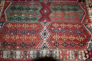"""Pretty vintage Turkish Kilim that needs service, measuring 144""""X 66"""".  Rug has a tennis ball size hole and a few other things that will need to be corrected.  Thanks."""