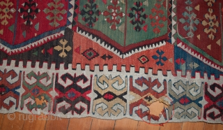 "Pretty vintage Turkish Kilim that needs service, measuring 144""X 66"".  Rug has a tennis ball size hole and a few other things that will need to be corrected.  Thanks."