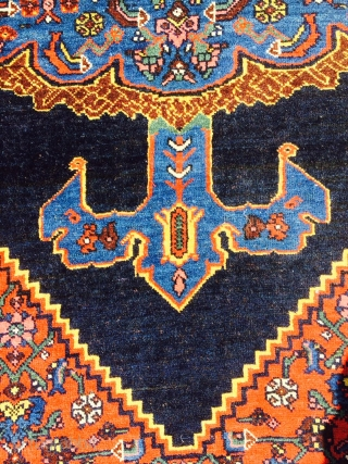 "Nice turn of the century or perhaps older Bijar measuring 4'5""x 6'8"". Rug is longer by 3 inches on one side, hence the crookedness. More pics available upon request.  Thanks."