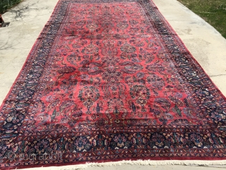 "12'4""x 23'8"" 1938-1944 over sized Persian Sarouk with two small low area's, after market fringe sewn on, needs binding wrapped in a few small places, has no micturition smells or stains, wool  ..."