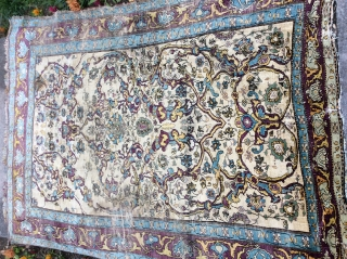 "4'6""x 5'10"" antique silk Ferahan ready for your collection or ready for restoration or both."