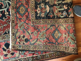 "1920's 8'3""x 11'3"" Heriz with light wear on one end (side closest to viewer). Nice decorative carpet."