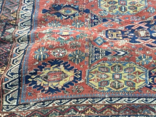 "7'10""x 8'4"" 1880's antique Soumak in need of restoration.  Having said that, rug is beautiful and is all there. More pics available upon request.  Thanks."