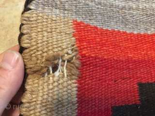 """Apologies for side way pictures: Rugrabbit is the only platform that posts  some of my pictures sideways. This is a 1940's-50's Navajo with minor condition issues measuring 4'4""""x 8'4"""". Thanks"""