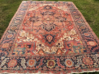 8'x 12' beautiful 1920's Heriz in good condition commensurate to its age. Has a few low areas, but otherwise is a carpet worth having for inventory.