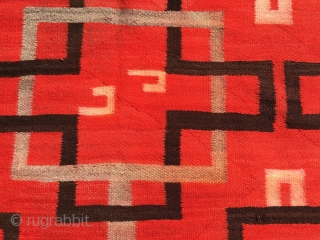 "1890-1910 Navajo Transitional Blanket measuring 57""x 83"" with minor loss to 4 small area's along the sides: I feature the worse in the third picture.  Rug has bleeding.  No animal  ..."