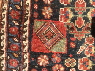 "As found: 1900's to 1920's Persian Khamseh in good condition measuring 7'5""x 4'7"", three inches difference in width from one end to the other (4'6"" to 4'9""), pile is low and even,  ..."
