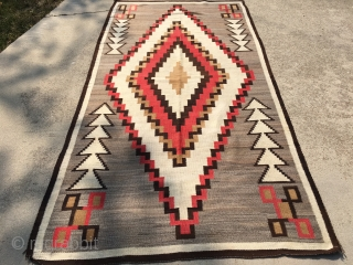 "1930's-40's Navajo rug measuring 5'x 9'5"" in remarkable condition.  Rug has 6 warps and 12 wefts per square inch. Rug has all original side stitching intact and is ready to go  ..."