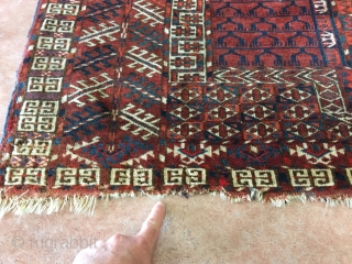 "1890's Tekke with loss at both ends and two small old repairs measuring 4'7""x 3'11"", thick pile, nice colors and design. Thanks"