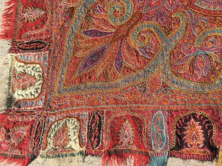 """Late 1800's Kashmiri Shawl measuring 6'2""""x 6'2"""" in great condition except for the black material in the center which has holes."""