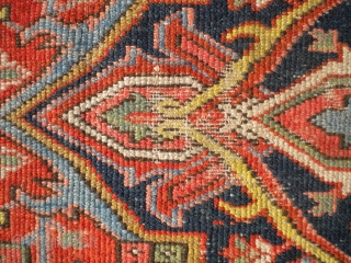 """RUG-PICKERS FIND AS FOUND: A 1920'S BLANKET-SUPPLE-LIKE PERSIAN HERIZ, SIZE IS 8'X10'5"""", HAS 5 OR 6 AREA'S THAT HAS FOUNDATION SHOWING, ENDS ARE MISSING PART OF OUTER MINOR GUARD BORDER, BEAUTIFUL COLORS,  ..."""