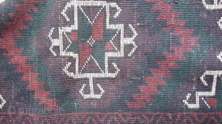 A very high quality antique baloch with very rich colors and good dark green color. Very smooth like a blanket. Almost 70 years old. Size 290x133 cm