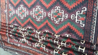 High quality antique sistan baloch with very rich colors.Size 290x133 cm.Very soft and smooth. Almost 70 years old. There is two very small holes but I will repair it very good.