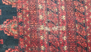 Old Sarki rug with beautiful black background. Size 320x245 cm