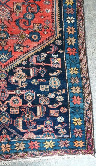 Old karabaghi rug from Iran with beautiful colors and design. Size 325x113 cm