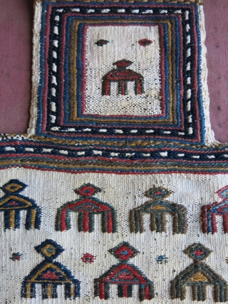 """Afshar - tribal salt bag wool on cotton. Used and has good patina, natural colors. Circa 1900 or earlier. size : 16"""" X 15"""" - 41 cm X 39 cm"""