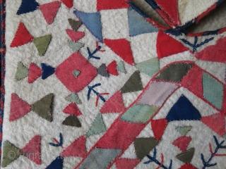 "Turkmen Bokhche wool fabric applique on felt.Some wool fabric repairs. Circa 1900.. Size : 17"" X 17"" - 8"" long tassels"