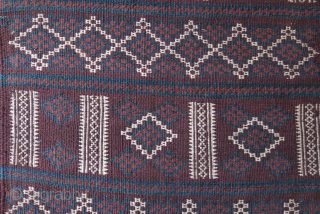 "Baluch tribal all wool panel- Very strongly woven and can take very heavy traffic. Natural colors. Circa 1900 - size : 72"" X 17"" -- 183 cm X 43 cm."