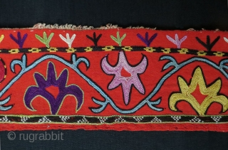 """Uzbekistan Lakay fragment. Chain stitch fine embroidery from Shahrisebz. Late 19th century. Size of each panel is 48"""" - 121 cm long and 3.5"""" - 9 cm wide, top panel is 3.5""""  ..."""