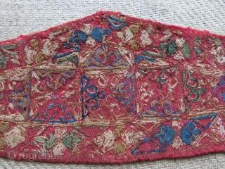 """Turkmen Chodor head band- extreme fine silk chan stitch emrboidery. Mid -19th cent. or earlier size : 11"""" X 4"""" - 28 cm X 10 cm"""