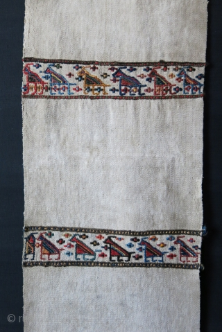 "Shahsavan tribal bedding pile cover panel. Survived in great condition. It was longer with other panels but in great condition. All natural dyes with sumak weave. Circa late 19th.. Size : 70""  ..."