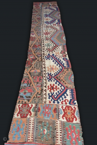 """Konya Hotamish Valley antique long kilim panel, saturated colors survived in great shade. Size :  412 cm X 76 cm - 161 """" X 30"""""""
