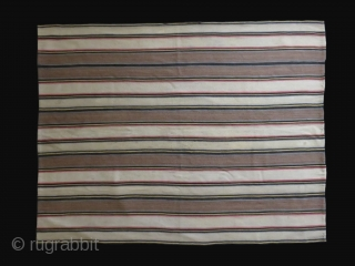 "Shahsavan tribal Jajim kilim. All wool, warp-faced weave in one foot panels with high altitude wool. Size: 73"" X 57"" - 185 cm X 145 cm."