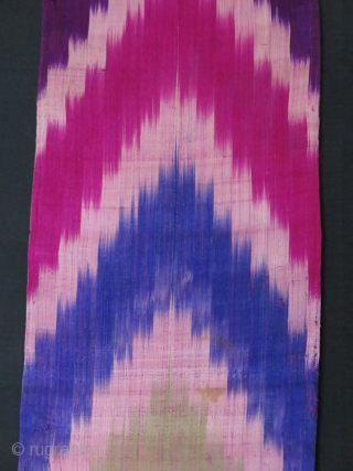 "Uzbekistan,silk adras ikat panels. Lined with printed and plain cotton. 45"" X 14"" -115 cm X36 cm // 48"" X 11.5"" - 121 cm X 30 cm."