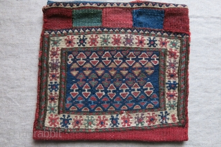 "Bijar sumak weave chanteh. Minor wear on lowwer border and repair on back side..size: 10"" X 9.5"" - 26 cm X 24 cm"