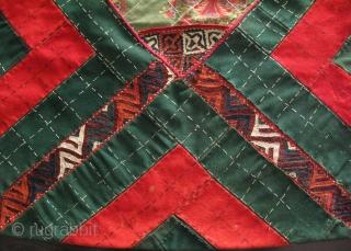"Turkmen Yomud Bokhce. Silk embroidery on broadcloth. Size: 20"" x 29"" 50cm x 74cm."