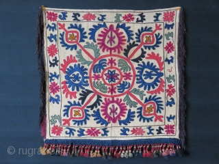 "KIRGIZ- Oina Khalta- tribal hanging. lacing embroidery on hand loomed cotton. natural colors, with silk -metallic tassels on bottom and sides. Pale stain in center part. Circa 1900- 1920 - Size: 26""  ..."