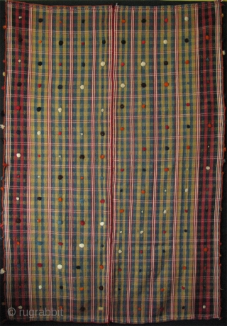 "Qashqai blanket. Woven two separate pieces and joined together. With wool wish tassels all around. Very fine wool and great colors. Circa 1900 - 1920's. Size: 52"" x 76""(133cm x 193cm)"