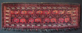 "Turkmen Saryk torba. Good pile no repairs. Size: 15"" x 33"" - 38cm x 84cm."