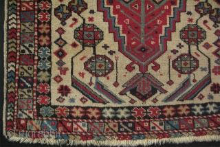 "West Anatolian small rug. All wool natural colors. No repairs, very good condition. Size: 37"" x 52"" -94 cm x 132 cm."