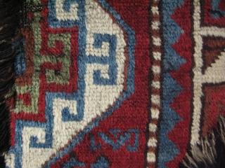 "Caucasian rug fragment. Great silky wool. Size: 16"" x 31.5"" -40 cm x 80 cm."