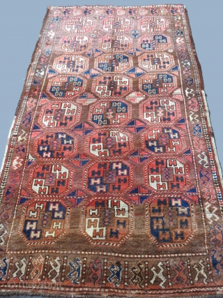 """Turkmen main rug from Upper Amudarya-Red Desert. Some areas low pile, fairly in good condition. Size: 60"""" x 105"""" - 154cm x 267cm."""