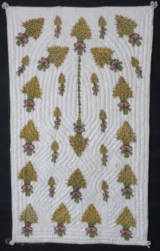 "Anatolian - East Turkey - Tokat block print quilted child blanket. Decorated with hyacinth bucket flowers in the form an "" Apsis"" and ""Mihrap"". A tradition of in the region still survives  ..."