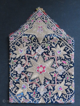 """Persian - Qajar imperial bokhcha shape bag. Fine silver metallic embroidery on velvet. Lined with silk. circa - 19th cent. Size :9"""" X 9.1/2"""" - 23 cm X 24 cm"""