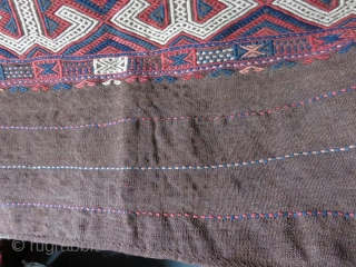 Eastern Taurus Mountains. Turkmen tribal extra weft woven kilim with goat hair warps and wefts. Tightly and finely woven, in great condition. It has one light blue aniline color which is small  ...