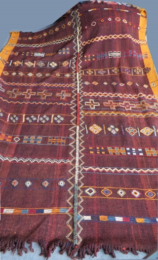 "South Eastern Turkey - two panel Kurdish kilim. All very fine shiny wool, coarse weave. Natural colors from vegetable dyes. Circa 1900-1920. Size: 260 x 190cm - 102"" by 75"""