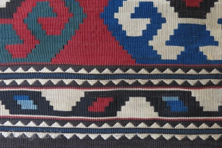 "Caucasus bedding bag missing end panels, saturated natural dyes with very fine weave and bold motifs. Circa 1900 or earlier - size: 66"" X 42"" -- `68 cm x 108 cm"