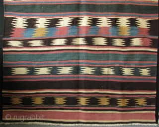 "Azerbaijan, Iran - Shahsevan kilim. traditional designs and natural colors. Great condition. Circa 1900. Size: 56"" x 86""- 142 cm x 219 cm."