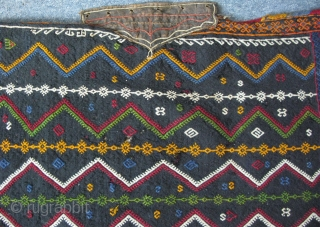 "EAST ANATOLIA Sivas Divrigi area Kurdish tribal travel bag. Cicim weave and has leather opening at top. Some small wears on the backside. Size; 27"" x 33"" (69 cm x 84 cm)."