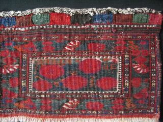 "South Persia- Afshar tribal bag face- A small hole repaired with old wool. Good pile and colors. Size: 9.5"" x 16"" - 25cm x 41cm."