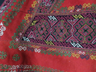 Uzbekistan - Karakalpak Khimishek - bridal wear. Fine embroidery on wool trade cloth with traditional motifs, silk tassels and adras ikat backing. It shows that I was used some good times. They  ...