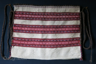 "Turkmensahra - Yomud torba, original braided hair straps on the side with some patina and good condition. plane weave backing. Circa 1900-1920/ Size: 27"" X 21"" - 69cm X 53 cm"